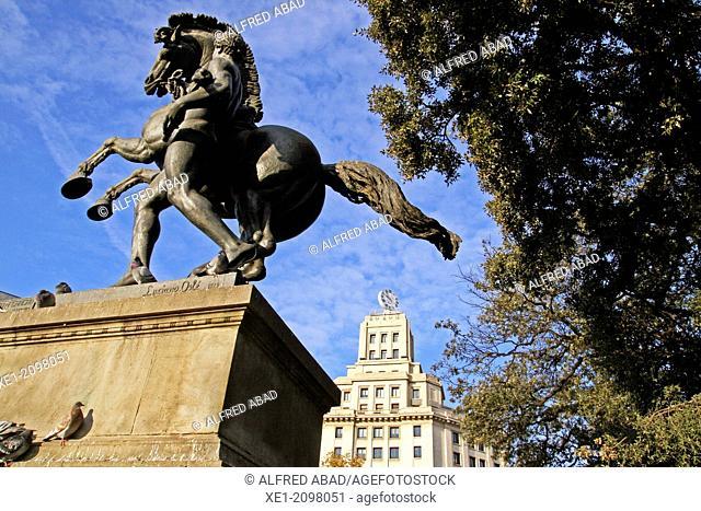 Equestrian statue, sculpture by Luciano Osle, 1925, Plaça de Catalunya, Barcelona, Catalonia, Spain