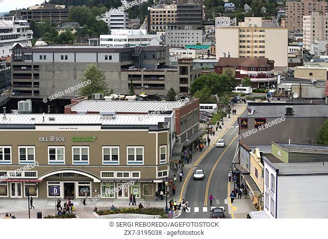 Juneau downtown, from the Mount Roberts Tramway. Alaska. USA. Diferents shops and stores in Juneau. South Franklin Street