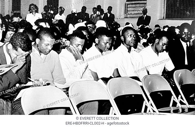 FREEDOM RIDERS-Attending a rally at 1st Baptist Church in Montgomery, Alabama. Their arrival set off mob action outside which was dispersed by tear gas