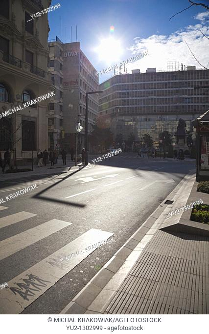 Crosswalk in modern part of Malaga, Spain