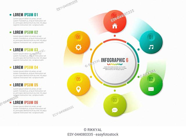 Rotating circle chart template, infographic design, visualization concept with with 6 options, steps, processes. Global swatches