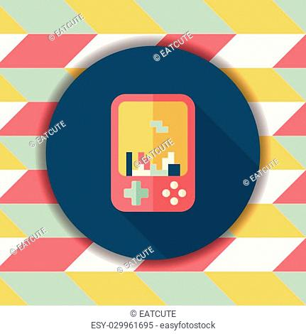 Handheld game consoles flat icon with long shadow,eps10