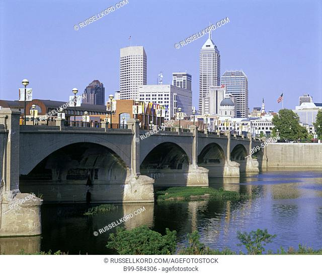 Downtown Skyline & White River State Park, Indianapolis, Indiana, Usa