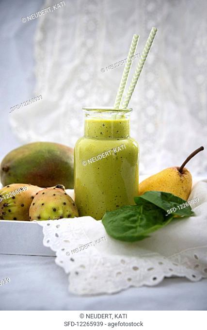 A cactus fig, mango, pear and spinach smoothie