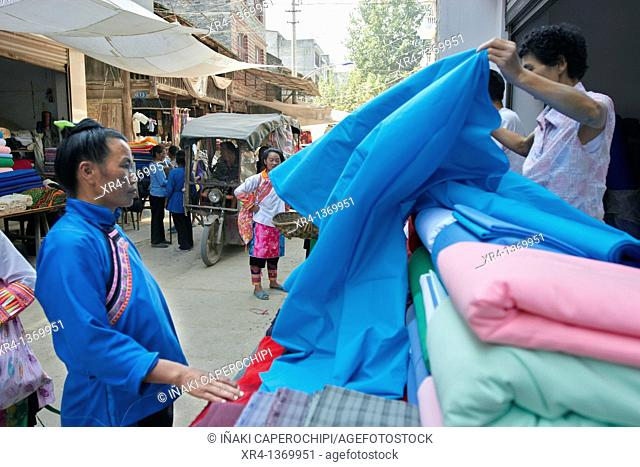 Women in traditional costumes, Market Rongjiang, Rongjiang, Guizhou, China