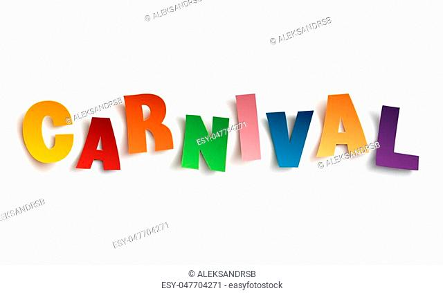 Colorful handmade typeface carnival isolated on white background. Vector illustration