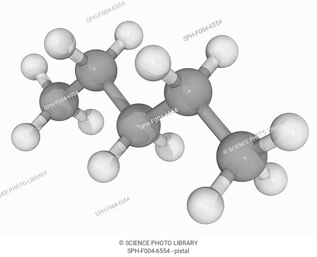 Pentane n-pentane, molecular model. Organic compound contained in some fuels and one of the primary blowing agents used in the production of polystyrene foam