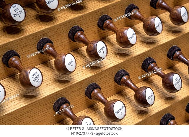 Levers from a pipe organ