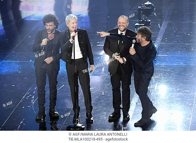 Francesco Renga, Claudio Baglioni, Max Pezzali, Nek during Sanremo Italian Music Festival, Sanremo, Italy 10/02/2018