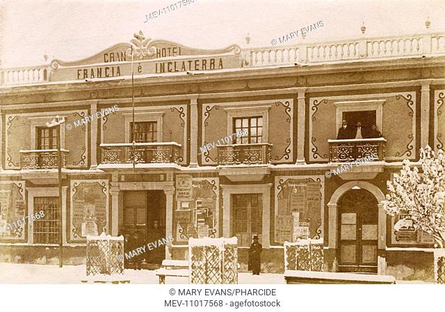 Gran Hotel Francia e Inglaterra in the main city square of Oruro, Bolivia, South America, during a period of cold weather, with snow in evidence