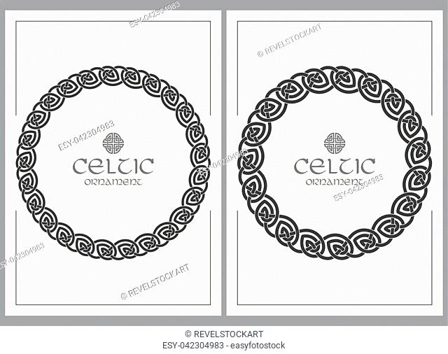 Celtic knot braided frame border ornament. A4 size. Vector illustrations set