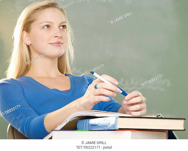 College woman in class