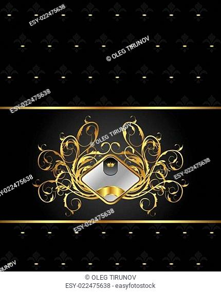 gold floral packing with heraldic element
