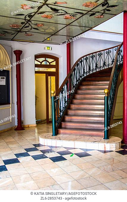 Gorgeous old fashion stairways, stairs, stairways, historical stairs, inside an old typical house of martinique. The floor are ceramics
