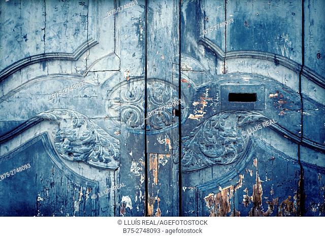 Close-up of old wooden door. Barcelona, Catalonia, Spain