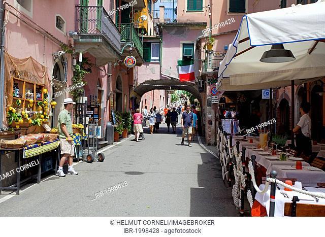 Old town alley with specialty shops and arcade, Monterosso al Mare, Cinque Terre, La Spezia Province, Parco Nazionale delle Cinque Terre national park
