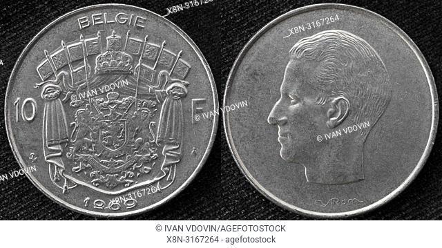 10 francs coin, King Baudouin, Belgium, 1969