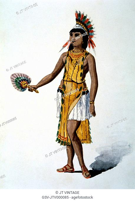 Caribbean Indian Woman Brought Back to Spain by Christopher Columbus, Watercolor Painting by William L. Wells fo the Columbian Exposition Pageant, 1892