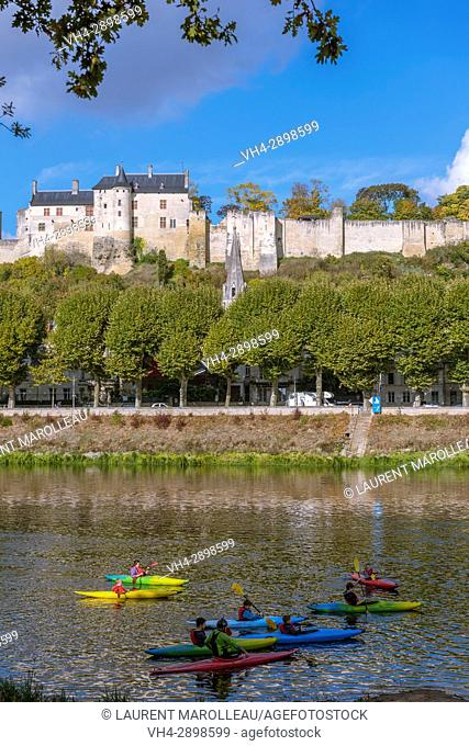 Kayaking on the banks of Vienne River, the City and the Royal Fortress of Chinon. Indre-et-Loire, Central Region, Loire Valley, France, Europe