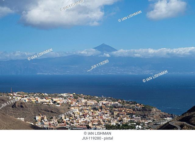 View of San Sebastian, La Gomera, Canary Islands with Mount Teide on Tenerife in background