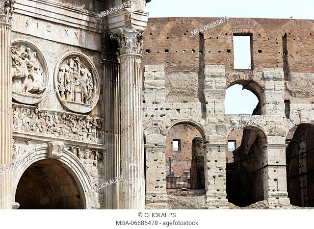 Architectural details of the Arch of Constantine and Colosseum the largest amphitheatre ever built Rome Lazio Italy Europe