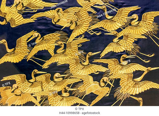 England, London, Kensington, Victoria and Albert Museum aka V&A, The Japan Room, Display of Gift Cover aka Fukusa depicting Flock of Cranes dated 1840-70