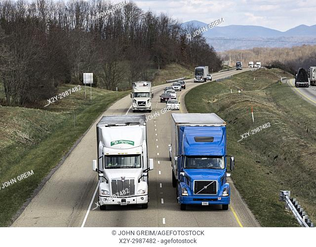 Semi trucks dominate the hi-way