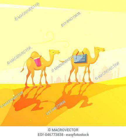 Color cartoon illustration depicting camel in desert ramadan kareem vector illustration
