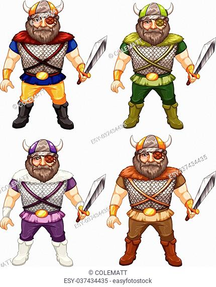 illustration of a set of male vikings