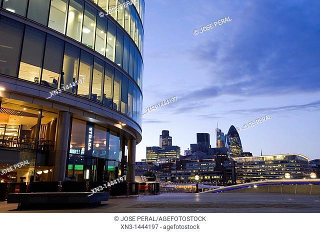 More London, Development Office Buildings, On background The City, Southwark, London, England, UK