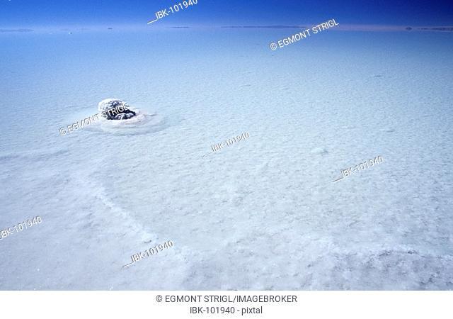 Small salt island at Salar de Uyuni, Bolivia