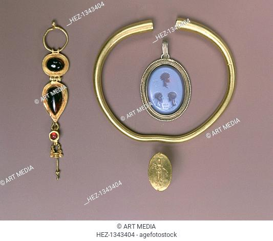 Assorted Greek and Roman jewelry, 4th century BC-17th century. Greek gold ring, 4th century BC, Gold bracelet, Parthian, 2nd century AD, golden earing, Roman