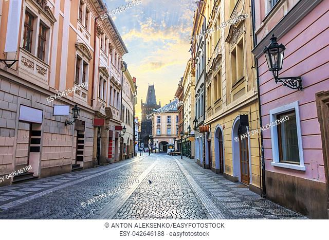 Prague street and the Powder Gate, no people
