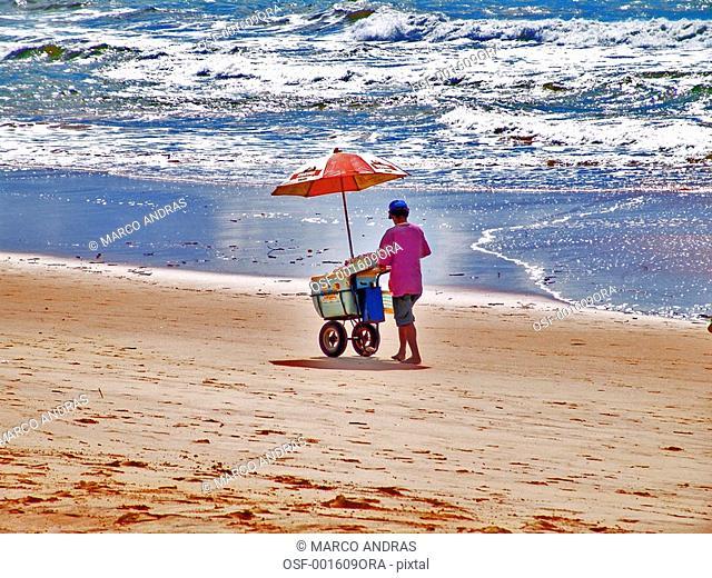 pernambuco one person selling ice cream at the beach shore