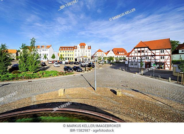 Market square, town center of Bergen on Ruegen, Ruegen Island, Mecklenburg-Western Pomerania, Germany, Europe