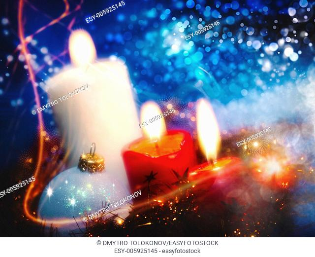 Christmas backgrounds with candles and garland