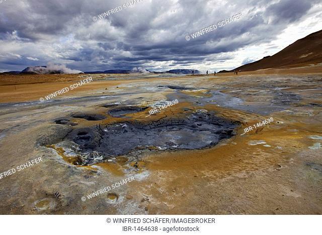 Solfatara field, Hveraroend or Hverir on Námafjall, Krafla volcanic area in the Myvatn area, northern Iceland, Iceland, Europe