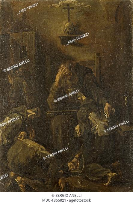 Confession of the Capuchins (Confessione dei frati cappuccini), by Alessandro Magnasco said Lissandrino, 18th century, oil on canvas, 36 x 25 cm