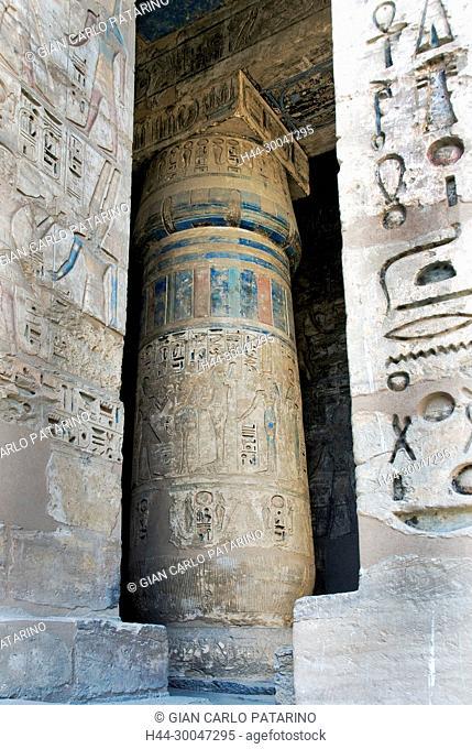 Medinet Habu, Luxor, Egypt, Djamet, mortuary temple of King Ramses III, XX dyn. 1185 -1078 B.C: columns in second courtyard