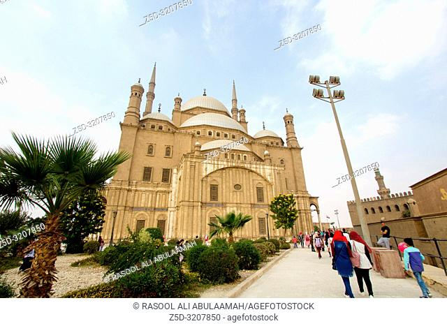 Cairo, Egypt – November 7, 2018: photo for Mosque of Muhammad Ali in Cairo city capital of Egypt, it is shown in Ottoman Islamic style and Number of domes and...