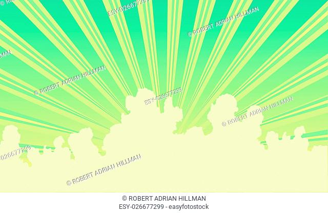 Editable vector illustration of sunbeams and clouds