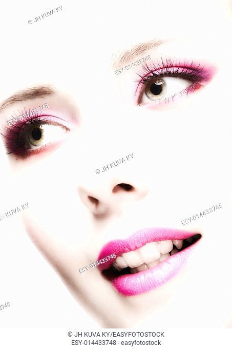Close-up, beautiful woman face, perfect makeup, beauty and fashion
