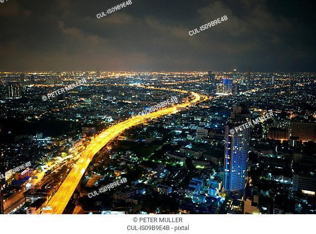 Cityscape and highway at night, Bangkok, Thailand