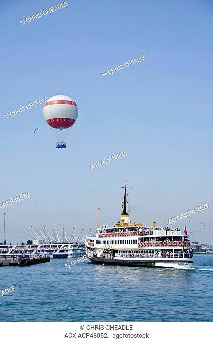 Ferry and sightseeing balloon, Kadiköy, Asian side of Bosphorus, Istanbul, Turkey