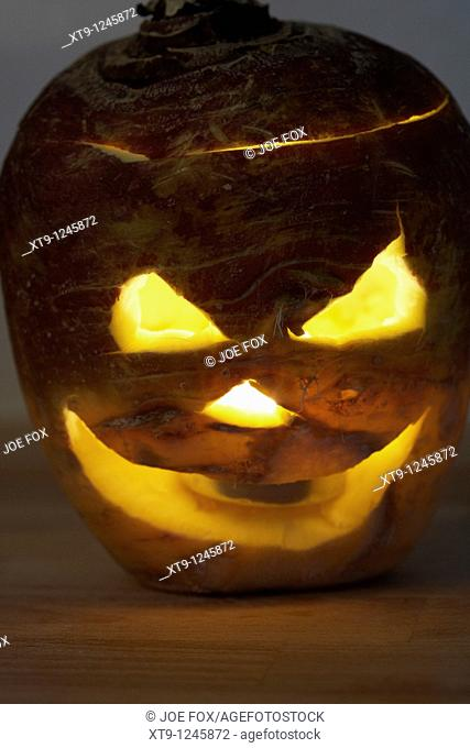 halloween turnip jack-o-lantern  Traditionally in Ireland turnips or swedes were used to create the lanterns and irish immigrants in america used pumpkins...