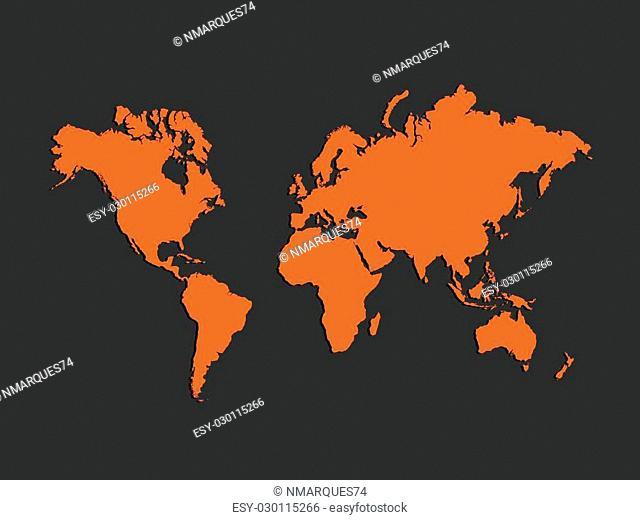 Illustration of a colorful orange world map