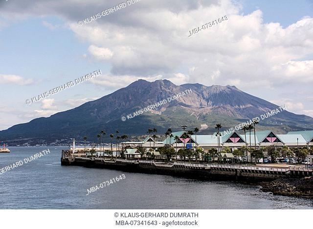 Landscape with volcano Sakurajima of Kagoshima in Japan