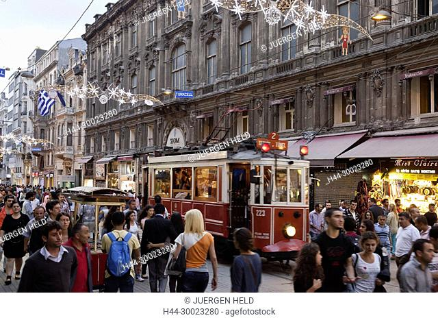Istiklal Ceddesi, tram, main shopping street, Beyoglu , Istanbul, Turkey , Europe