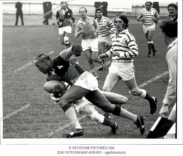 Oct. 04, 1979 - The South African Barbarians win First Match: The South African Barbarians won two battles in their first match of the tour at Exeter yesterday
