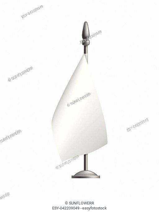 Blank vertical small flag, streamer, mockup, isolated. Outdoor promo flag with bar and stand. Vector illustration of canvas
